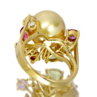 ゴールデンパール11.7�o珠 ダイヤモンド マルチカラー イエローゴールド リング(指輪)