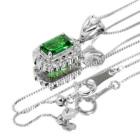 グリーンガーネット(ツァボライト)0.7ct ダイヤモンド ホワイトゴールド ネックレス