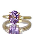 アメシスト 1.5ct ダイヤモンド イエローゴールド リング(指輪)