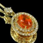 メキシコ産ファイアオパール 1.5ct ダイヤモンド イエローゴールド ネックレス