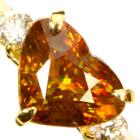スフェーン 2.7ct ハートシェイプ ダイヤモンド イエローゴールド リング