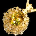 スフェーン 4.2ct ダイヤモンド イエローゴールド ネックレス