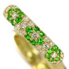ロシア産デマントイドガーネット 0.4ct ダイヤモンド イエローゴールド フラワーモチーフ パヴェ リング(指輪)