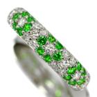 ロシア産デマントイドガーネット 0.3ct ダイヤモンド プラチナ フラワーモチーフ パヴェ リング(指輪)