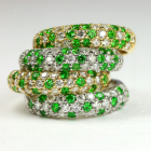 ロシア産デマントイドガーネット 0.3ct ダイヤモンド イエローゴールド パヴェ リング(指輪)