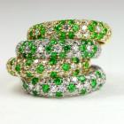 ロシア産デマントイドガーネット 0.3ct ダイヤモンド プラチナ パヴェ リング(指輪)