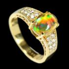メキシコ産オパール 1.2ct ダイヤモンド イエローゴールド リング(指輪)