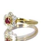 ルビー 0.2ct ダイヤモンド イエローゴールド フラワーモチーフ リング(指輪)