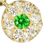 ロシア産デマントイドガーネット 0.1ct ダイヤモンド イエローゴールド ピアス