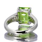 ペリドット 4.1ct ダイヤモンド プラチナ リング(指輪)