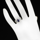 バイカラーサファイア 1.1ct アウイナイト ダイヤモンド プラチナ リング(指輪)