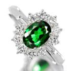 グリーンガーネット(ツァボライト)1.0ct ダイヤモンド プラチナ リング(指輪)