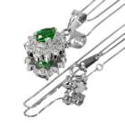 グリーンガーネット(ツァボライト)0.9ct ダイヤモンド プラチナ ネックレス