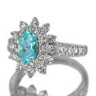 ブラジル産パライバトルマリン 0.9ct ダイヤモンド プラチナ リング(指輪)