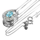 ネオンブルーアパタイト 0.7ct ダイヤモンド プラチナ ネックレスネックレス