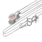 パパラチャサファイア 0.2ct ダイヤモンド プラチナ ネックレス