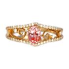 パパラチャサファイア 0.7ct ダイヤモンド ピンクゴールド リング(指輪)