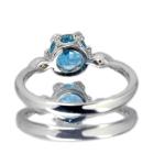 ブルージルコン 1.4ct ダイヤモンド ホワイトゴールド リング(指輪)
