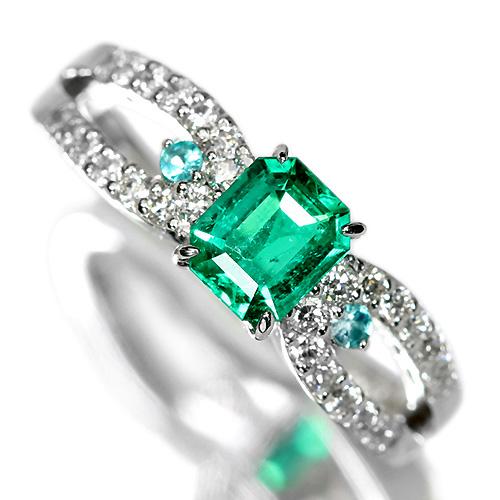 エメラルド 0.4ct パライバトルマリン ダイヤモンド プラチナ リング(指輪)