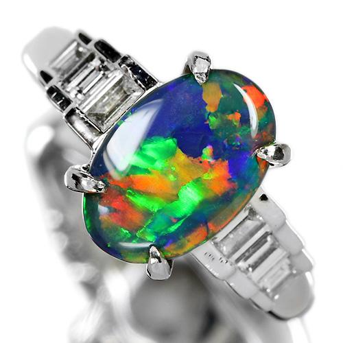 オーストラリア産ブラックオパール 1.8ct ダイヤモンド プラチナ リング(指輪)