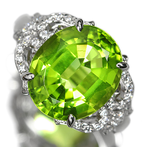 ペリドット 6.1ct ダイヤモンド プラチナ リング(指輪)