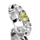 イエローダイヤモンド ハートシェイプ 0.37ct/FLY/SI1 ダイヤモンド プラチナ リング(指輪)