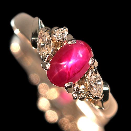 ビルマ産スタールビー 1.2ct ダイヤモンド プラチナ リング(指輪)