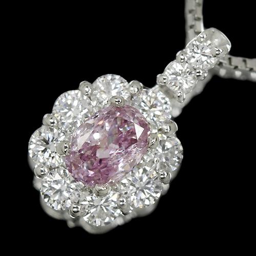 ピンクダイヤモンド 0.325ct/FPP/I1 ダイヤモンド(H&C) 0.3ct/ダイヤモンド プラチナ ネックレス