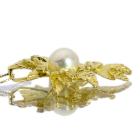 白蝶真珠 9.6mm ダイヤモンド イエローゴールド ネックレス
