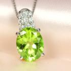ペリドット 3.2ct ダイヤモンド プラチナ ネックレス