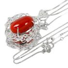 土佐産朱赤珊瑚 10.34ct ダイヤモンド プラチナ ネックレス