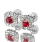 レッドベリル 0.2ct ダイヤモンド プラチナ ピアス